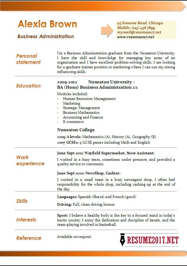 Business Administration Resume Sample - Resume CV Cover Letter