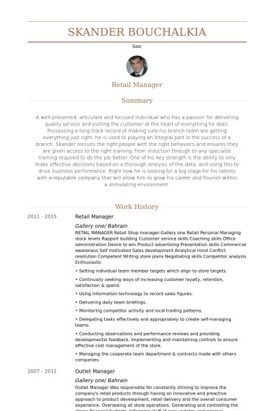 Retail Manager Resume samples - VisualCV resume samples database