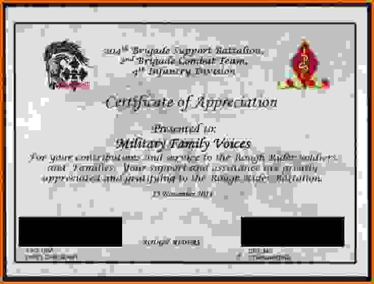 army certificate of appreciationReference Letters Words ...