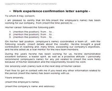 Work experience confirmation letter sample | Letter of experience