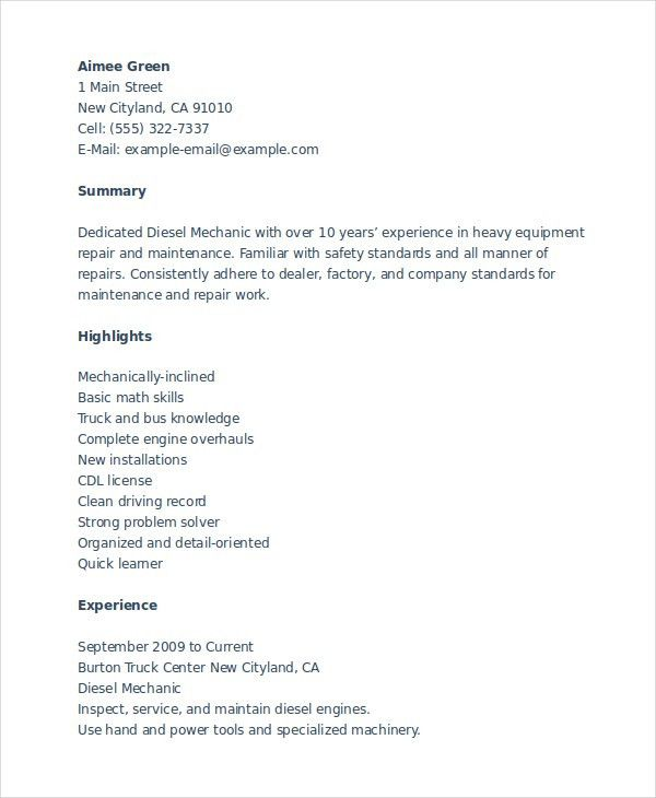heavy equipment mechanic resume unforgettable diesel mechanic
