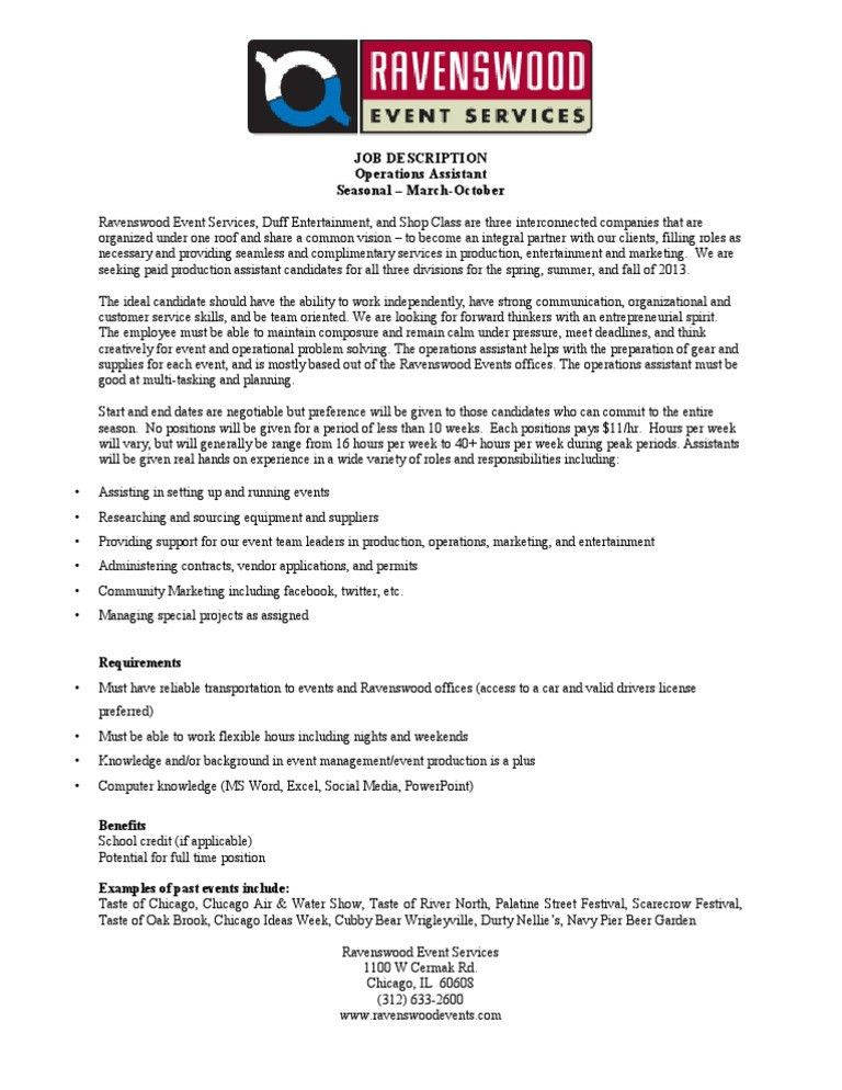 Marketing Assistant Job Description. Free Assistant Marketing ...