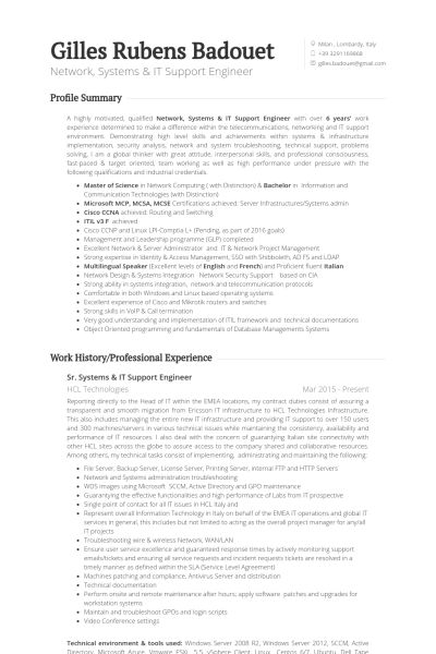 It Support Engineer Resume samples - VisualCV resume samples database