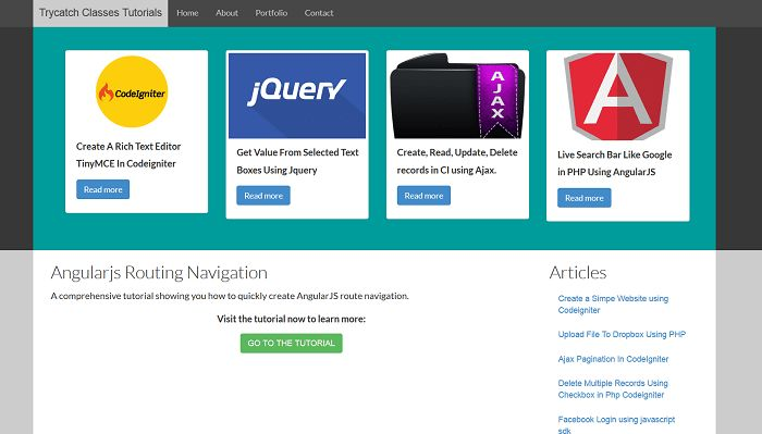 AngularJS Navigation Bar Example Using Simple Routing |Download Code