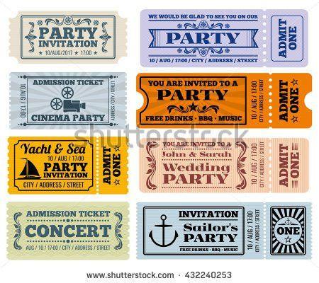 Retro Party Cinema Invitation Vector Tickets Stock Vector ...