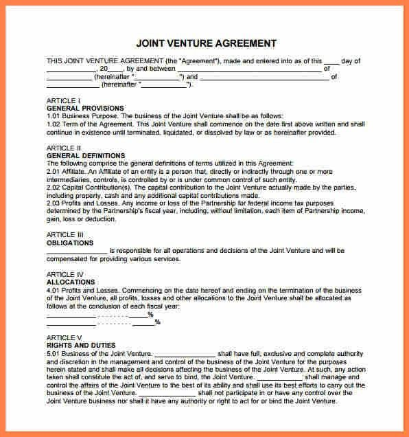 10+ sample joint venture agreement template | Purchase Agreement Group