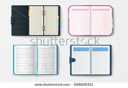 Set Open Realistic Notebooks Pages Diary Stock Vector 610078328 ...