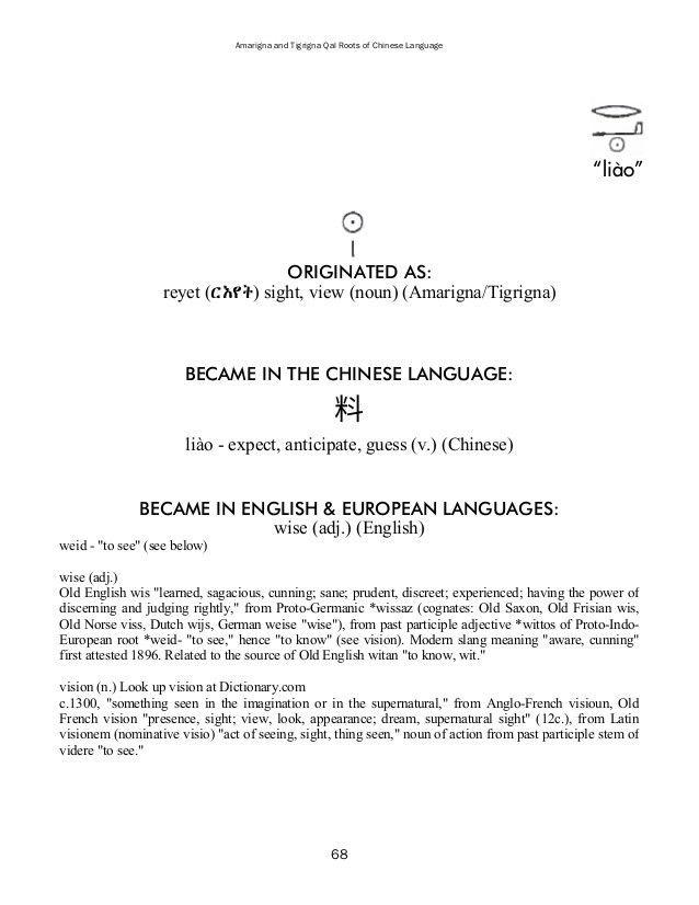 Amarigna & Tigrigna Qal Roots of Chinese Language