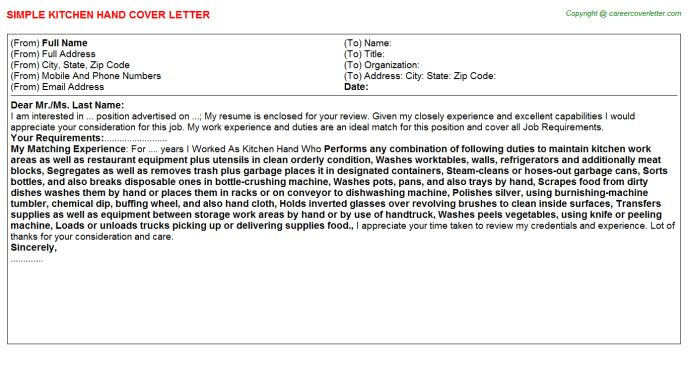 Kitchen Hand Cover Letter