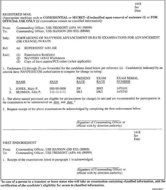 Sample Letter of Transmittal for Forwarding Examinations