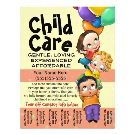 Child Care. Babysitting. Day Care. Tear sheet Custom Flyer: | Rox ...