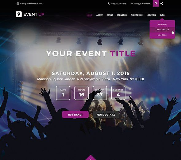jf Event Up - 2015 - Joomla! Templates