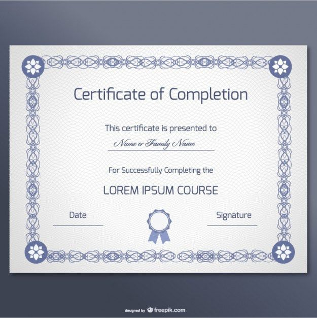 Elegant certificate of completion template Vector | Free Download