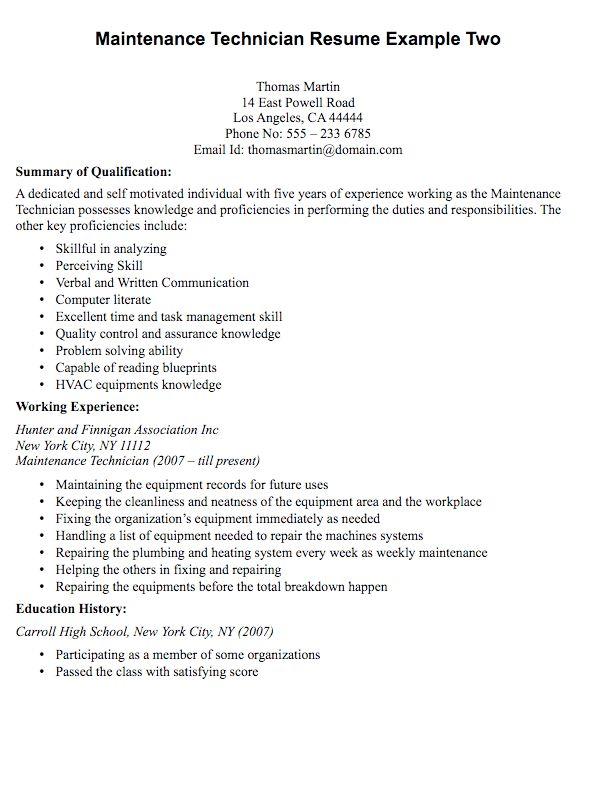 maintenance technician resume sample - RESUMEDOC