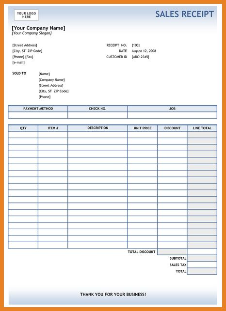 sales receipt template | word format resume