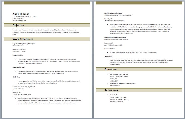 sample resume new graduate respiratory therapist augustais - Sample Resume For Respiratory Therapist