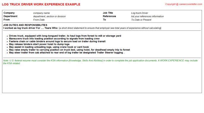 Log Truck Driver Job Title Docs