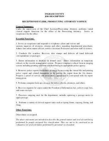 Receptionist Job Description. Receptionist Resume Sample ...