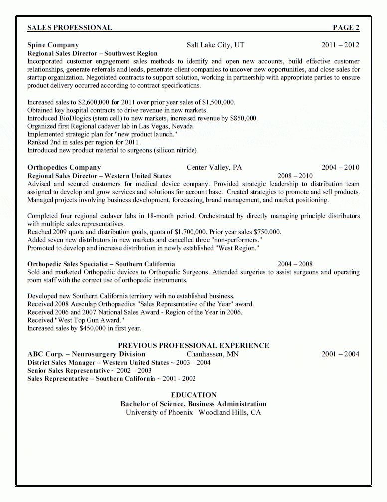 Sales Management Professional Resume