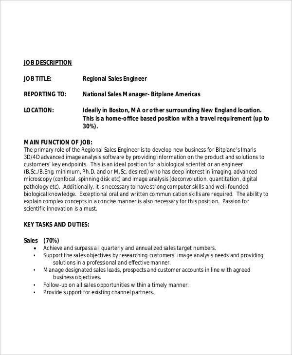 Regional Sales Manager Job Description Sales Manager Job – Sales Engineer Job Description