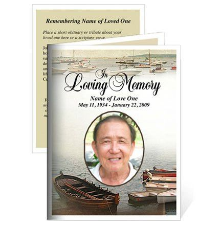 Memorial Cards : Fishing Small Funeral Card Template
