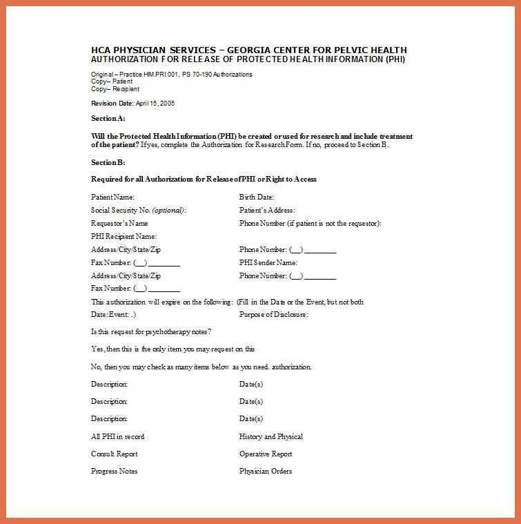 Medical Release Form. Hipaa Medical Release Of Information Form ...