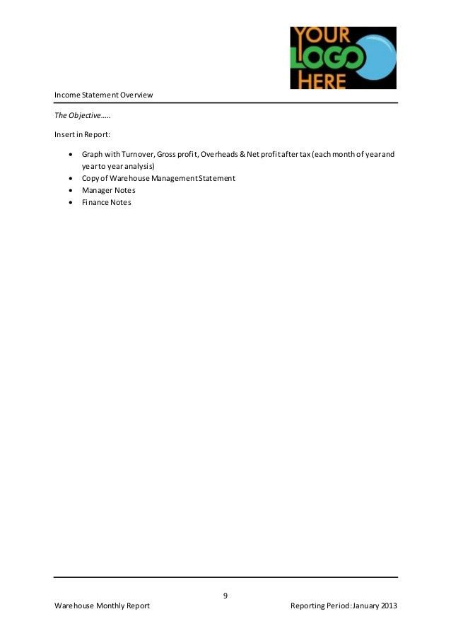 Example Warehouse Monthly Report Template