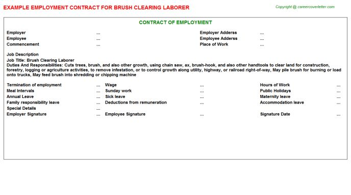 Brush Clearing Laborer Job Title Docs
