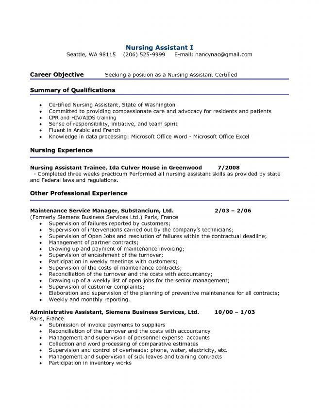 letter of resume resume cover letter certified nursing assistant ...