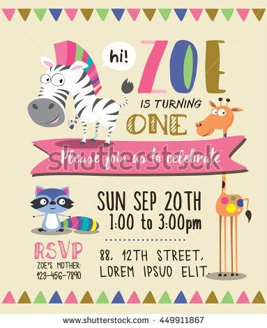 Cute Animals Birthday Party Invitation Card Stock Vector 449911849 ...
