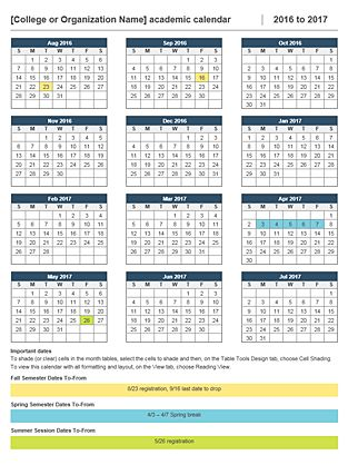 Academic Calendar 2016 17 Template | 2017 calendar with holidays