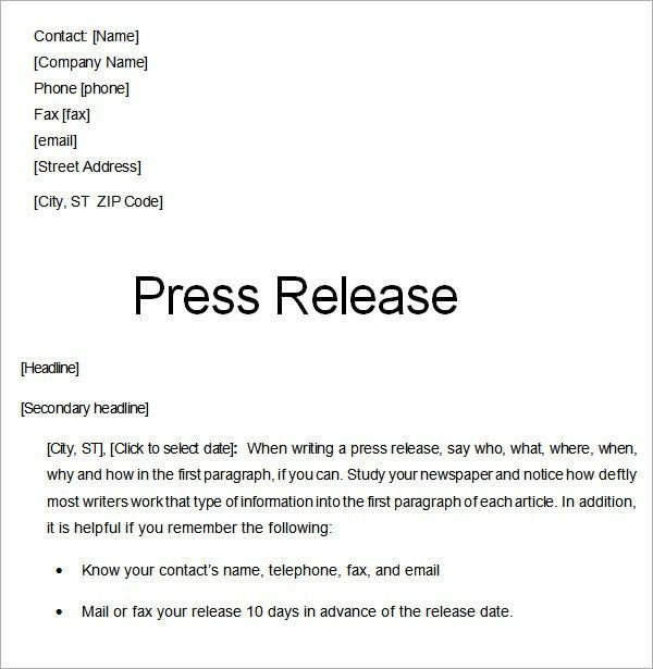 Sample Press Release Templates - 7+ Free Documents Download in ...