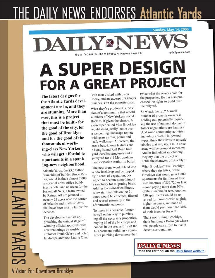 Forest City Ratner's new ad campaign, riding the Daily News editorial
