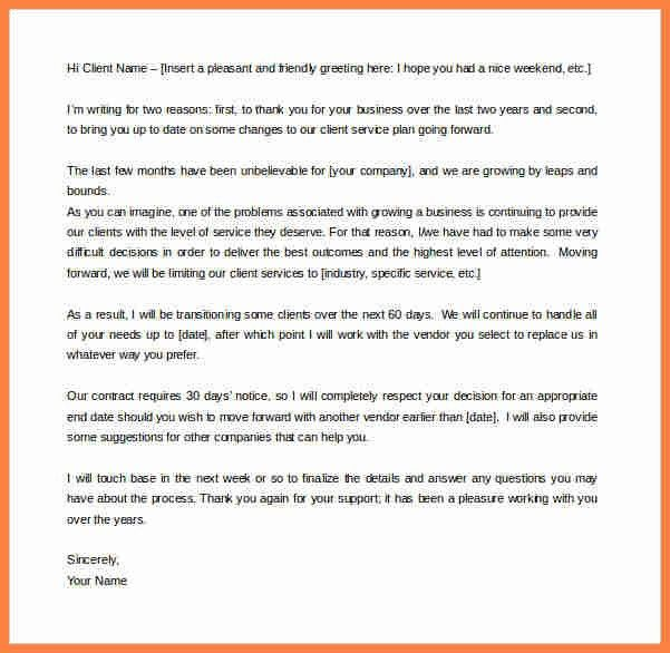 sample termination of services letter