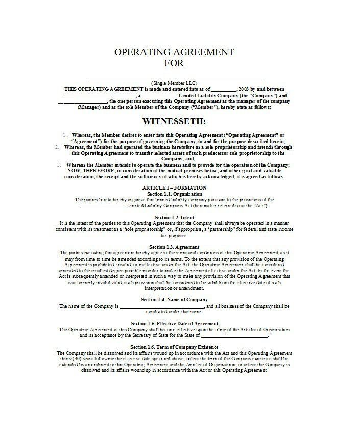 30 Free Professional LLC Operating Agreement Templates – Free ...