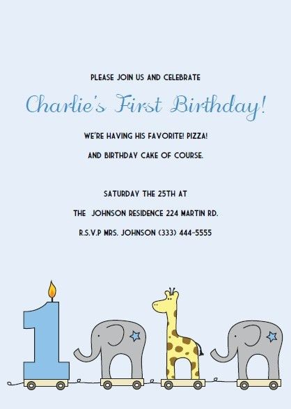 Printable 1st Birthday Invitations: Elephant and Giraffe ...