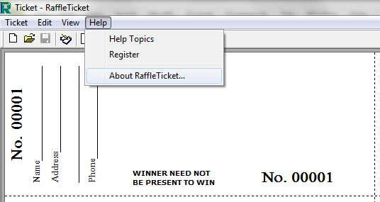 RTS_AboutRT_ScreenShot - Raffle Ticket Software