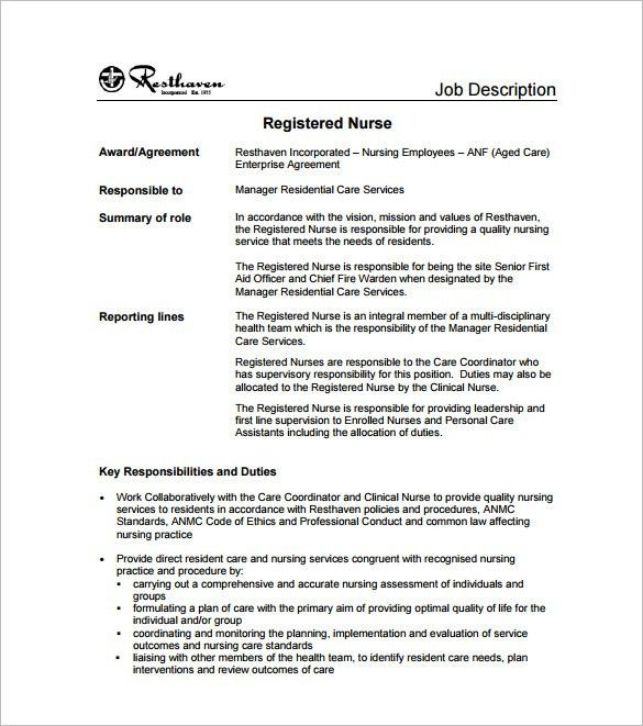 10+ Registered Nurse Job Description Templates - Free Sample ...