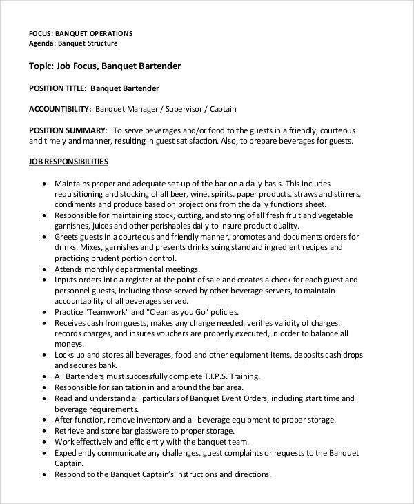 bartender resume 8 free sample example format free - Banquet Manager Job Description