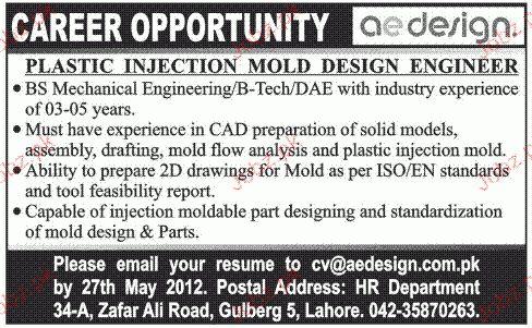 Plastic Injection Mold Design Engineers Job Opportunity 2017 Jobs ...