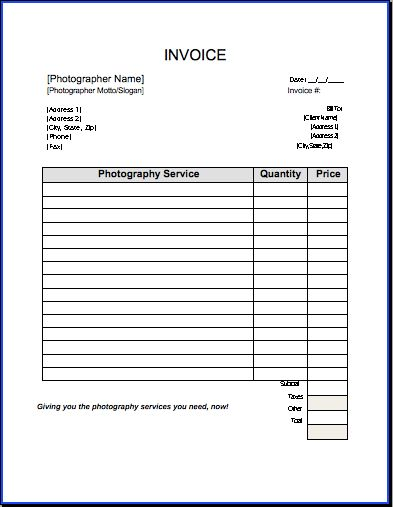 Download Simple Photography Invoice | rabitah.net