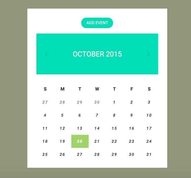 7 Best Free HTML5 CSS3 Calendar Widgets - DesignMaz