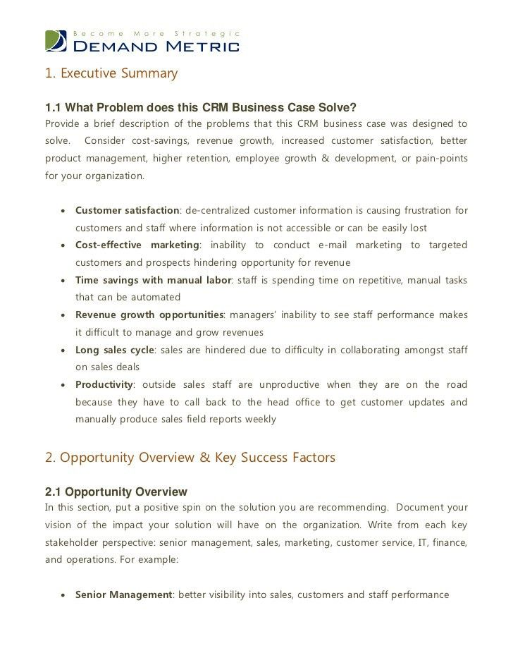 CRM Business Case Template