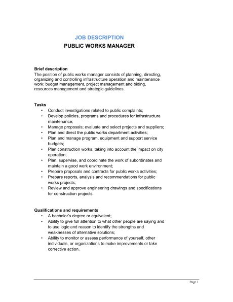 Public Works Manager Job Description - Template & Sample Form ...