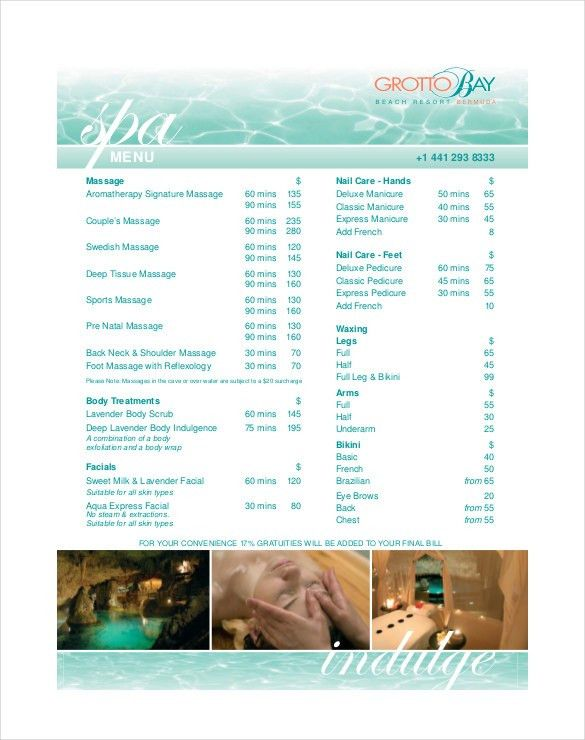 22+ Spa Menu Templates U2013 Free Sample, Example Format Download .