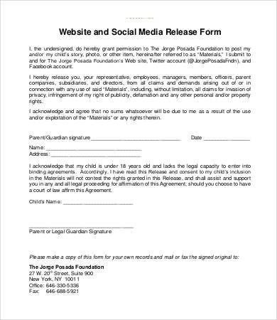 Media Release Form Template | Template Design