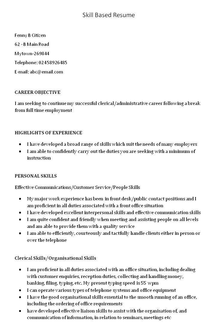 Skills Based Resume Examples. Skills Based Resume Examples Resumes ...