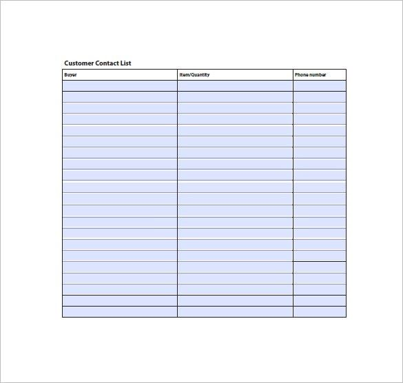 Contact List Template - 10+ Free Word, Excel, PDF Format | Free ...