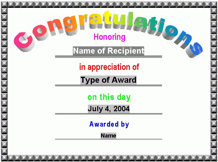 Congratulations Certificate Template Word Congratulations – Award Templates Word