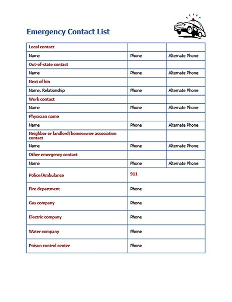 4 Free Emergency Contact List Templates – Small Business Resource ...